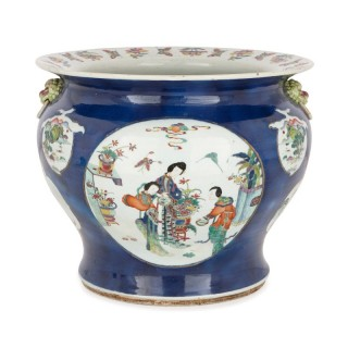 Antique Chinese blue parcel gilt porcelain vase