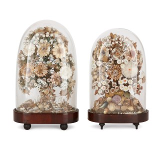 Two Victorian shell flower arrangements in glass cases