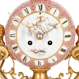 Antique Sèvres style gilt bronze mounted porcelain clock by Le Roy et fils