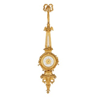 Napoleon III period gilt bronze clock and barometer, attributed to Raingo Frères