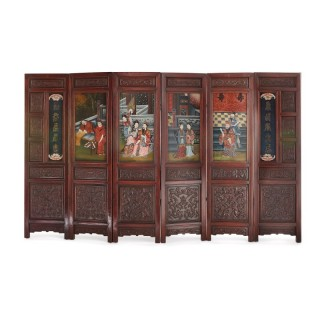 Chinese wooden screen with reverse glass painted panels