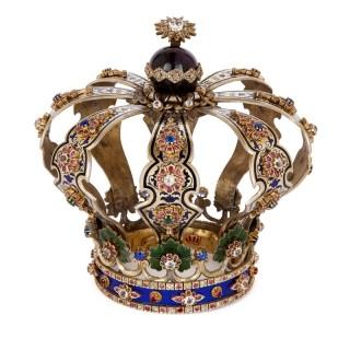 Jewish silver, enamel and jewel Torah crown keter