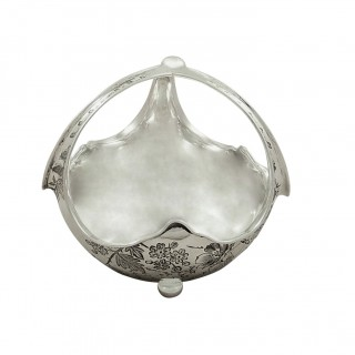 Antique Victorian Sterling Silver Basket / Dish 1884