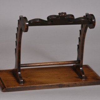 Antique Treen 19th Century Walnut Quill Stand