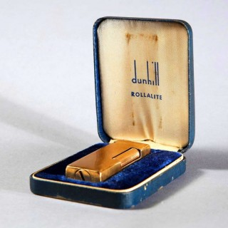 GOLD 14K DUNHILL ROLLALITE PETROL LIGHTER 1950'S