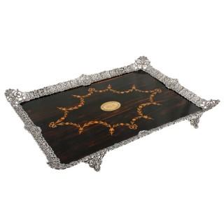 Fine Coromandel & Silver Plated Tray