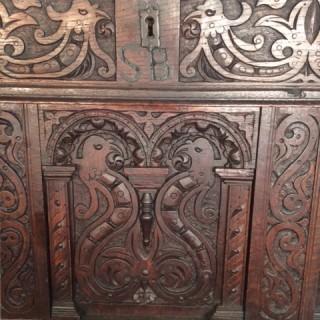 17th century carved oak coffer.
