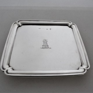 Quality crested square George I silver salver London 1725 Simon Pantin