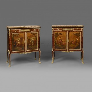 A Pair Of Louis XVI Style Mahogany And Vernis Martin Side Cabinets
