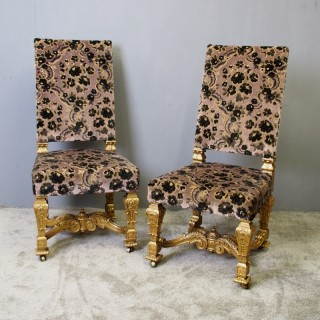 Pair of Charles II Style Gilded Side Chairs