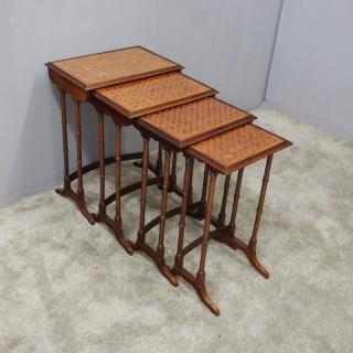 Georgian Style Nest of 4 Walnut Tables