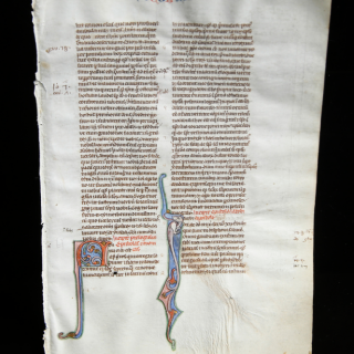 Medieval Bible Page with Illumination