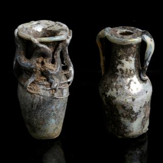 Pair of Miniature Glass Flasks