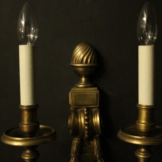 French Large Pair Of Bronze Wall Lights