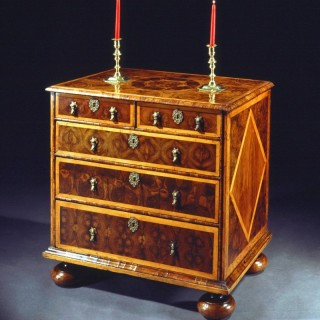 William and Mary Period Oyster Veneered Laburnum and Inlaid Chest of Drawers
