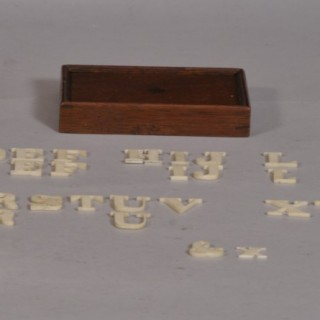 Antique Treen 19th Century Ivory Alphabet in its Mahogany Box