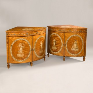 Pair of Satinwood Corner Cabinets