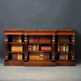 William IV Rosewood Breakfront Open Bookcase