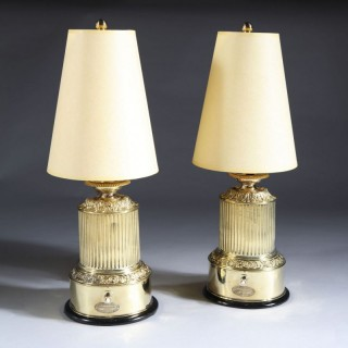 PAIR OF FRENCH POLISHED BRASS ANTIQUE TABLE LAMPS