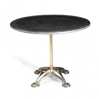 FRENCH POLISHED STEEL & BRASS GOTHIC CENTRE TABLE