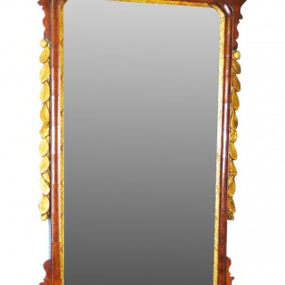 English 18th Century Walnut & Gilt Georgian Antique Wall Mirror