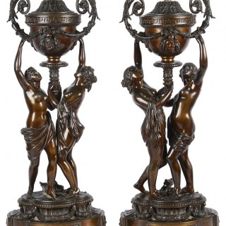Large pair classical bronze statues, 19th Century