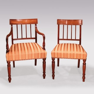 Set Of 10 Single And 2 Arm Regency Mahogany Dining Chairs