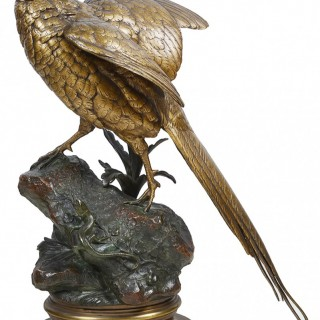 19th Century Life size bronze pheasant, by Alfred Dubucand.