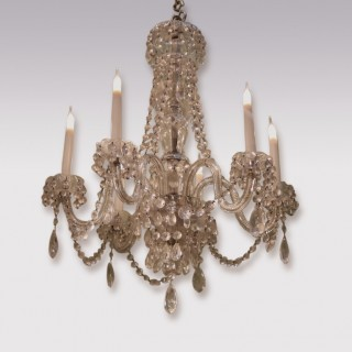 19th Century Six Light Cut Glass Chandelier