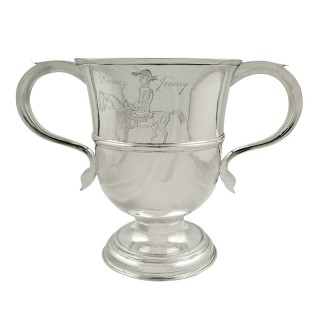 Antique Georgian Sterling Silver Loving Cup 1757 - Drowsey Jenney (Horse)