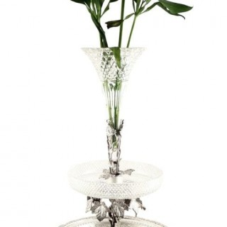 Antique Victorian Sterling Silver & Cut Glass 21″ Epergne Centrepiece 1884