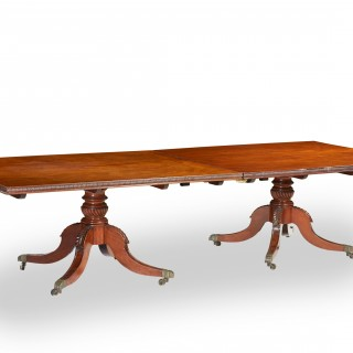 A Large 19th Century Regency Period Mahogany 2-Pedestal Dining Table