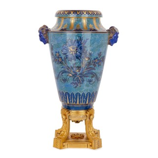 Sèvres blue porcelain urn on gilt bronze plinth