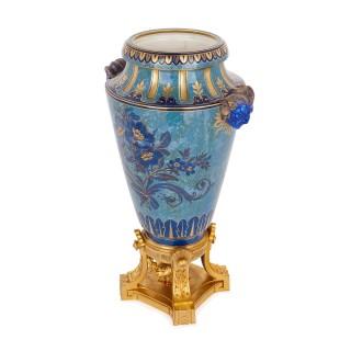 Sèvres blue porcelain urn on gilt bronze plinth