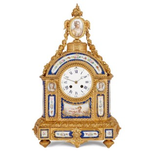 Sèvres style gilt bronze and porcelain mantel clock