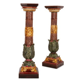 Two 19th Century Sarreguemines pottery majolica stands