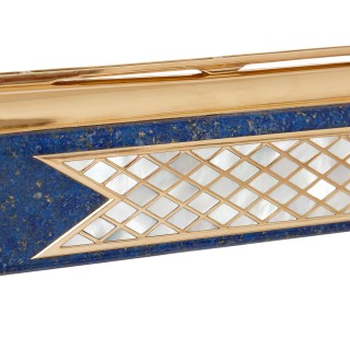 Gold, lapis lazuli, mother of pearl and precious stone shotgun by David Morris