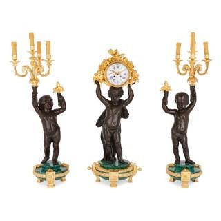 Large malachite, gilt and patinated bronze clock set