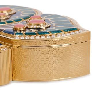 18 karat gold, enamel, pearl and precious stone box by Asprey