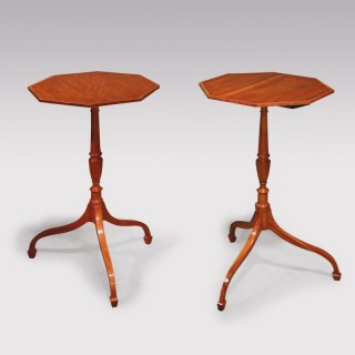 Pair Of Late 18th Century Sheraton Period Satinwood Tripod Tables.