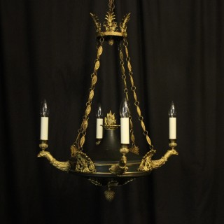French Empire 4 Light 19th C Antique Chandelier