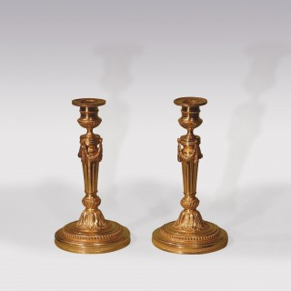 Mid 19th Century Louis XVI Ormolu Candlesticks