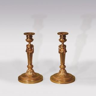 Mid 19th Century Louis XVI Ormolu Candlesticks