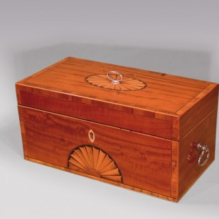 Late 18th Century Sheraton Tulipwood and Satinwood Teacaddy