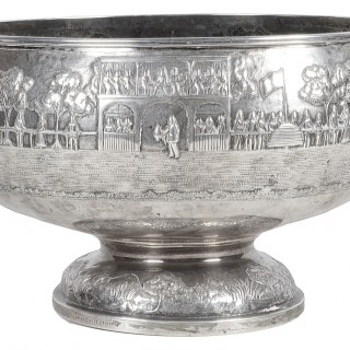 19th Century Indian silver bowl, with horse racing scene.