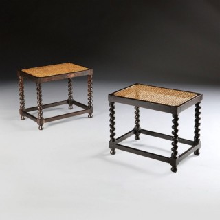PAIR OF SOLID EBONY BARLEY TWIST STOOLS