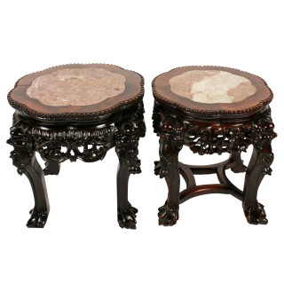 Two Chinese Carved Rosewood Stands