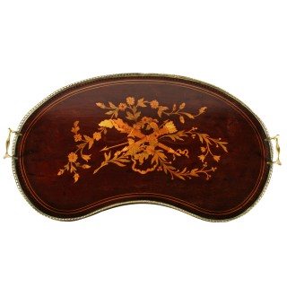 Marquetry Inlaid Kidney Shaped Tray