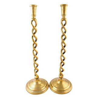 Pair of Large Brass Spiral Candlesticks