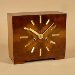 Very Stylish Art Deco Walnut and Ormolu Mantel Clock.